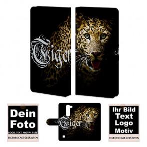 Ledertasche für LG G4 Mini Handy Hülle Foto Bild Text Druck
