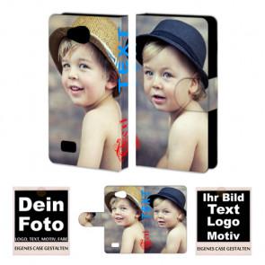 Ledertasche für LG Joy mit Foto und Text zum selbst gestalten.