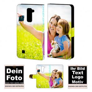 Ledertasche für LG K10 mit Foto und Text zum selbst gestalten.