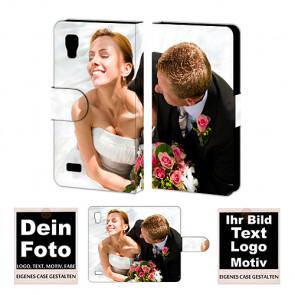 PU-Ledertasche für LG Optimus L9 mit Foto Bild Text Druck