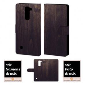 LG Stylus 2 Plus Handy Tasche Hülle mit Foto Druck Holz Optik