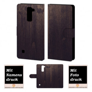 LG K7 Holz Optik Handy Tasche Hülle Foto Bild Druck