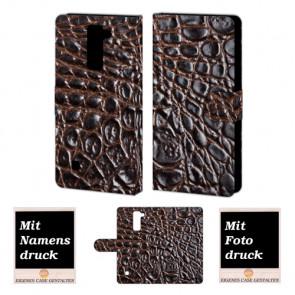 LG Stylus 2 Plus Krokodil Optik  Handy Tasche Hülle Foto Bild Druck