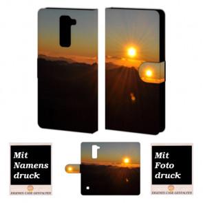 LG Stylus 2 Plus Handy Tasche Hülle mit Sonnenaufgang Bild Druck