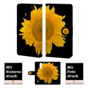 LG Stylus 2 Plus Handy Tasche Hülle mit Sonnenblumen Bild Druck