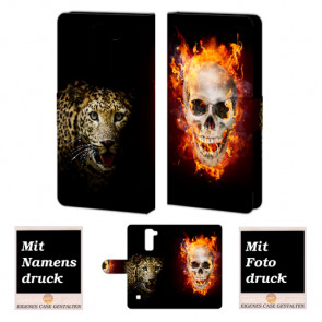 LG Stylus 2 Plus Handy Tasche Hülle mit Foto Druck Totenschädel-Tiger