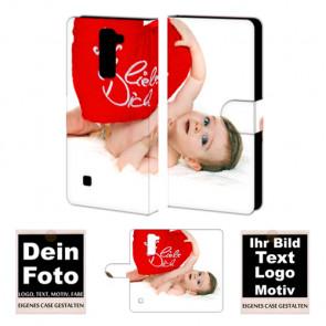 Ledertasche für LG K7 Schutzhülle mit Bild Fotodruck + Text