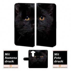 LG V10 Handy Tasche Hülle mit Schwarz Katze Bild Druck Text