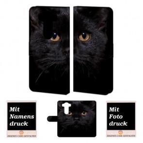 LG G4 Schwarz Katze Handy Tasche Hülle Foto Bild Druck
