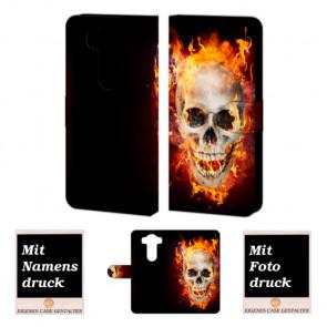 LG V10 Handy Tasche Hülle mit Totenschädel - Feuer Bild Druck