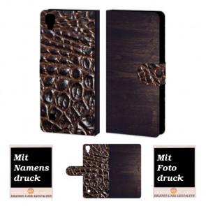 LG X Style Holz-croco Optik Handy Tasche Hülle Foto Bild Druck