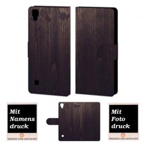 LG X Style Holz Optik Handy Tasche Hülle Foto Bild Druck