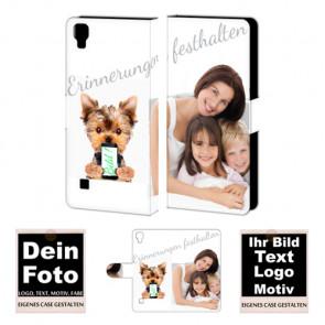 Ledertasche für LG X Style mit Foto und Text zum selbst gestalten.