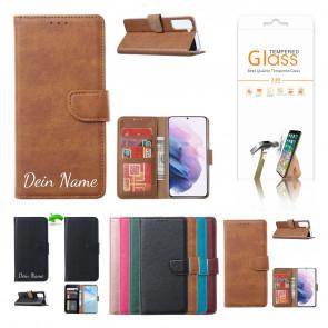 Samsung Galaxy A42 Schutzhülle mit Namensdruck und Displayschutz Glas Licht Braun
