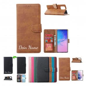 Samsung Galaxy S21 Handy Schutzhülle Tasche mit Namensdruck in Licht Braun