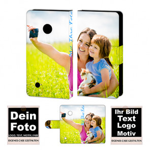 Ledertasche für Nokia Lumia 530 mit Foto und Text zum selbst gestalten.