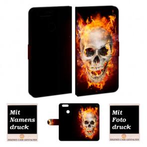 Huawei Nova 2 Personalisierte Handyhülle mit Foto selbst gestalten Totenschädel - Feuer