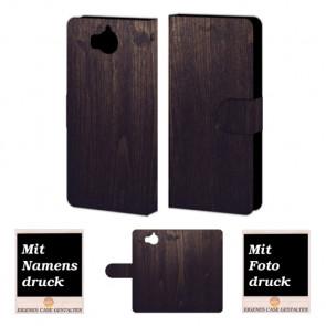 Huawei Y5 / Y6 2017 Holz Optik Handy Tasche Hülle Foto Bild Druck