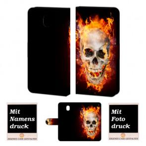Samsung Galaxy J5 (2017) Handy Hülle mit Totenschädel - Feuer Bild Druck