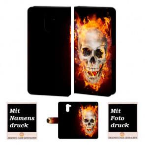 Huawei Y7/ Y7 Prime Handyhülle mit Fotodruck Totenschädel - Feuer