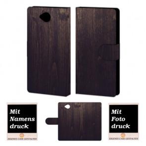 Microsoft Lumia 650 Holz Optik Handy Tasche Hülle Foto Bild Druck