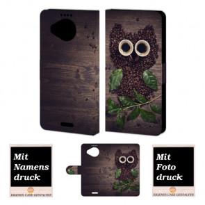 Microsoft Lumia 950 XL Kaffee Eule Handy Tasche Hülle Foto Bild Druck