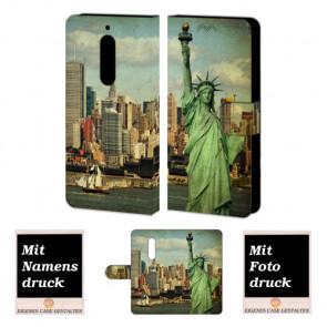Nokia 5 Schutzhülle Handy Tasche mit Freiheitsstatue + Bilddruck Etui