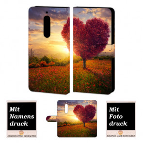 Nokia 5 Personalisierte Handyhülle mit Herzbaum + Bild Druck Etui