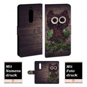 Nokia 5 Individuelle Handy Hülle mit Kaffee Eule + Bilddruck Etui