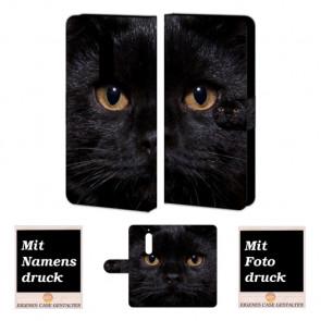 Nokia 5 Schutzhülle Handy Hülle Tasche mit Schwarz Katze + Bilddruck