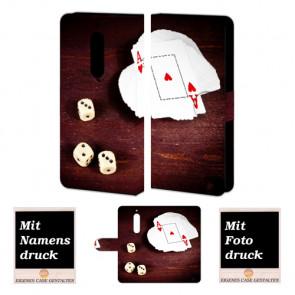 Nokia 5 Handy Tasche Hülle mit Spielkarten -Würfel + Foto Druck