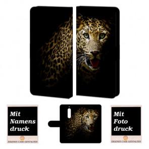 Individuelle Handyhülle Tasche für Nokia 6 mit Leopard + Bilddruck Text