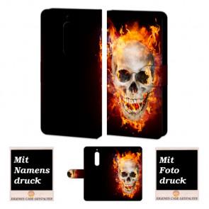 Nokia 6 Personalisierte Handyhülle mit Totenschädel - Feuer + Fotodruck