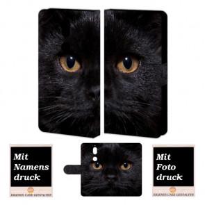 Nokia 7 Handy Hülle Tasche mit Schwarz Katze Bild Druck zum selbst gestalten
