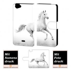 Wiko Rainbow jam Pferd Handy Tasche Hülle Foto Bild Druck