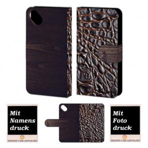 Wiko Sunset 2 Croco-Holz Optik Handy Tasche Hülle Foto Bild Druck