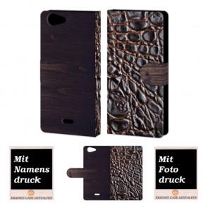 Wiko Pulp 4G Croco-Holz Optik Handy Tasche Hülle Foto Bild Druck