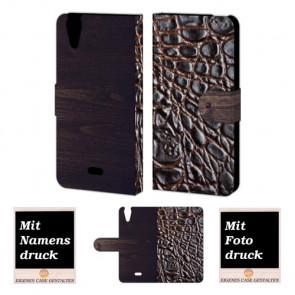Wiko Rainbow jam 4G Croco-Holz Optik Handy Tasche Hülle Foto Bild Druck