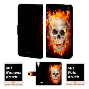 Wiko Rainbow jam 4G Totenschädel Handy Tasche Hülle Foto Bild Druck
