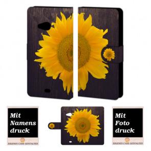 Microsoft Lumia 535 Sonnenblumen Handy Tasche Hülle Foto Bild Druck