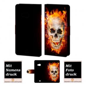Microsoft Lumia 535 Totenschädel Handy Tasche Hülle Foto Bild Druck