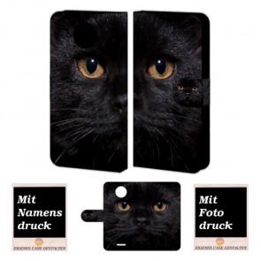 Motorola Moto E4 Plus Handy Tasche selbst gestalten mit eigenem Foto Schwarz Katze