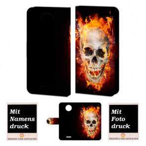 Motorola Moto E4 Handy Hülle Tasche mit Totenschädel - Feuer + Bild Text Druck