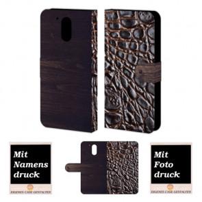 Moto G4 / G4 Plus croco - Holz Optik Handy Tasche Hülle Foto Bild Druck