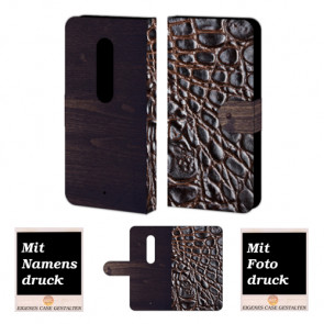 Moto X Play Croco-Holz Optik Handy Tasche Hülle Foto Bild Druck