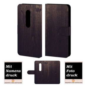 Moto X Play Holz Optik Handy Tasche Hülle Foto Bild Druck