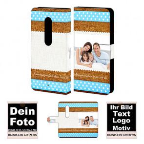 Ledertasche für Moto X Play mit Foto und Text zum selbst gestalten.