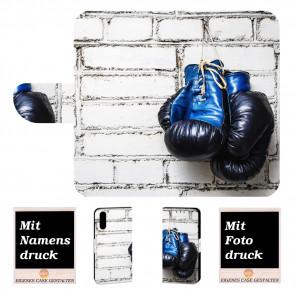 Handytasche für Huawei P30 mit Boxhandschuhe + Fotodruck Text