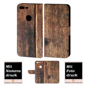 Google Pixel XL Personalisierte Schutzhülle Handy Tasche mit Holz + Foto +Druck