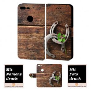 Google Pixel XL Personalisierte Handy Hülle mit Holz - Hufeisen + Foto + Druck
